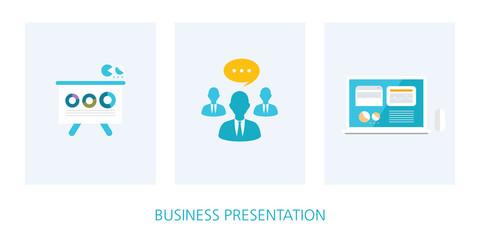 business presentation concept icon set