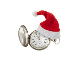 Old fashioned pocket watch with santa hat