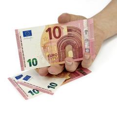 Hand hält 10 Euro Schein