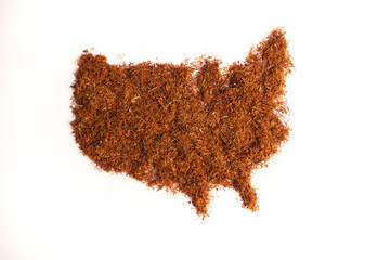 USA map in tobacco background