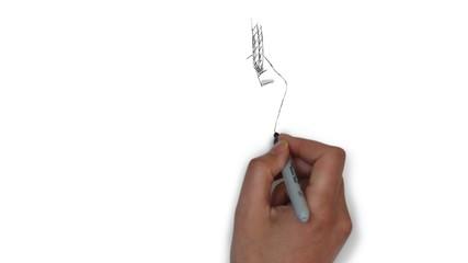 BDSM SM Erotik Bondage Hand Fesseln Zeichnung Grafik