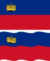Flat and waving Liechtenstein Flag. Vector