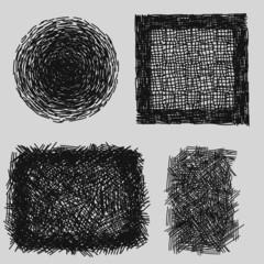Hand drawn sketches rough hatching grunge texture. vector