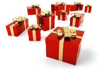 red parcels with golden ribbon