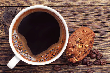 Closeup coffee and chocolate cookies