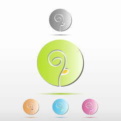 Elegant Logo Icon Flower In Circle With Shadow With Examples