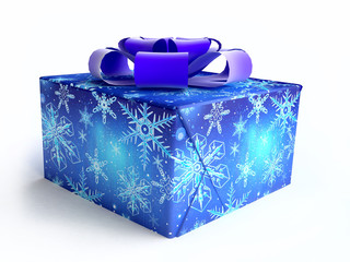 Christmas Gift Box Decorated with Snowflakes