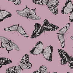 Butterfly seamless vintage pattern