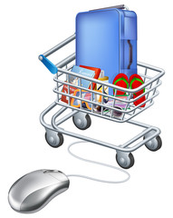 Mouse connected to holiday shopping cart