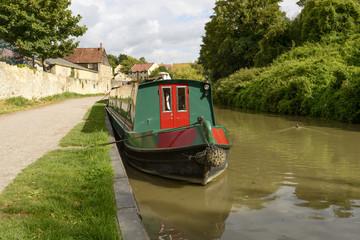 narrow boat at quay on canal, Bradford on Avon