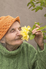 Elderly woman smelling yellow rose flower
