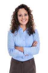 Junge freigestellte lachende Frau: Bewerbungsfoto