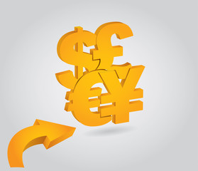 Major currencies, financial concept,