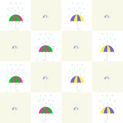 Colorful umbrellas under the falling rain drops pattern