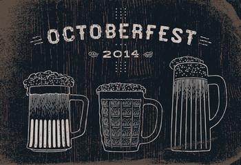 Beer set vintage sketch for Oktoberfest festival