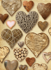 Heart shaped things on vintage paper