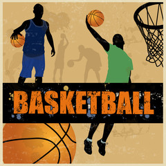 Basketball retro poster background