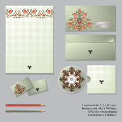 Vector corporate identity templates with  floral symmetrical ele