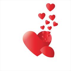 red heart concept of true love ,valentines  ,vector,broken