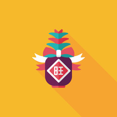Chinese New Year flat icon with long shadow,eps10, when you send