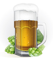 Mug of lager beer and hops