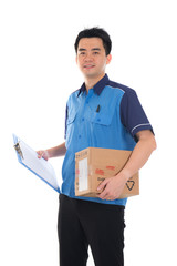 courier in blue uniform sending a package