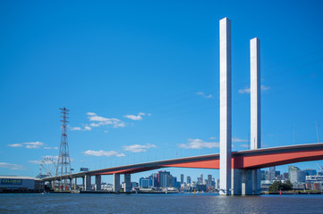 Bolte Bridge and Melbourne CBD skyline from Yarra river