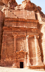 A tomb entrance in Petra, Jordan.