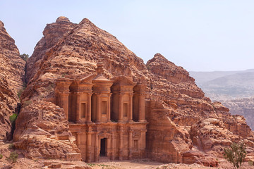 Massive facade of the largest monument in Petra, Monastery (ad D