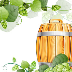 Wooden beer barrel  and hops on white