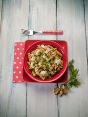 fusilli with fish and mushroom