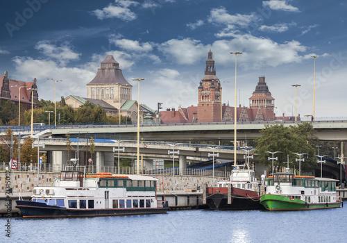 Szczecin (Stettin) City old town, riverside view, Poland.