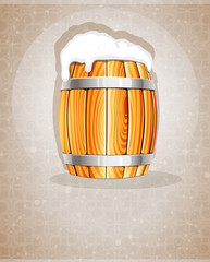 Beer barrel with foam