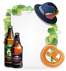 Beer bottles, pretzel, and Oktoberfest hat