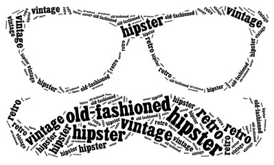 Word cloud illustration related to hipster