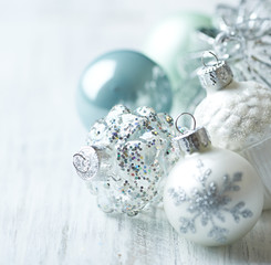 White and blue Christmas balls; close up