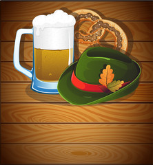 Beer glass, pretzel and  Oktoberfest hat