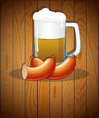 Beer mug and sausages