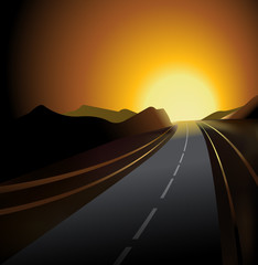 road and sunset vector background illustration