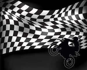 checkered flag with wheelie motorbike and rider