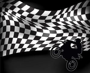 checkered flag with wheelie motorbike and rider