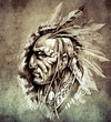 Sketch of tattoo art, American Indian Chief illustration on vint