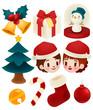 Set of adorable christmas icons
