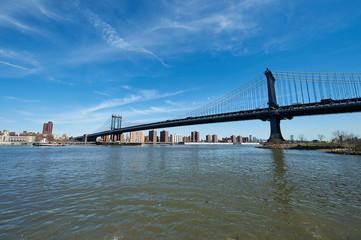Manhattan Bridge and skyline view from Brooklyn