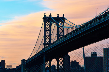 Manhattan Bridge silhouette view from Brooklyn