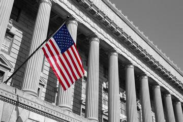 Department of Commerce in Washington D,C. Black n white photo.