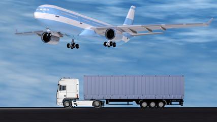 Flugzeug im Landeanflug über LKW