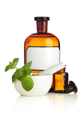 Herbal Medicine Bottles and Mortar