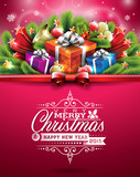 Fototapety Vector Christmas illustration with shiny holiday elements