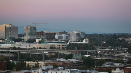 Downtown Portland OR at Sunset with Freeway Traffic